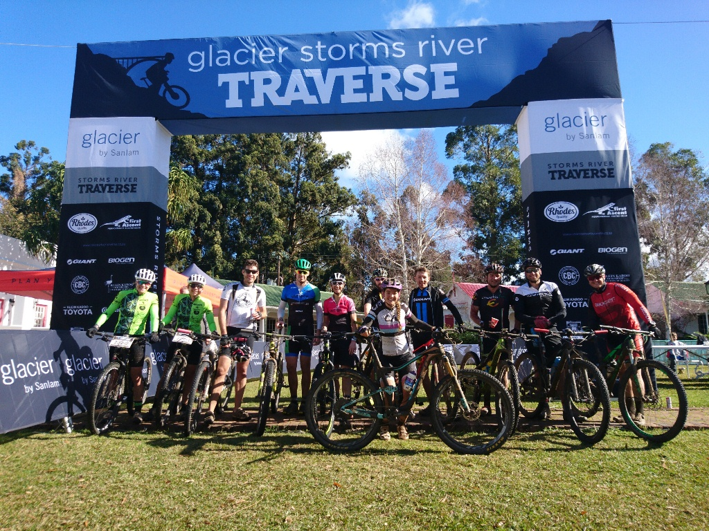 A few of the leading riders pose for a finish line photo. From left to right: Mari du Toit, Janine Muller, Vincent Hill, Andrew Robertson, Yolande du Toit, Paul Fauche, Sarah Hill, Gavin Salt, Jaco Cockrell, Timothy Hoek and Warren Williams. Photo by Seamus Allardice.